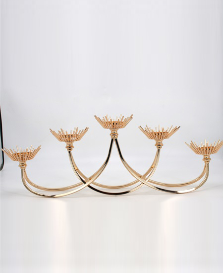 new fashion 5 heads gold metal candle holder 91201