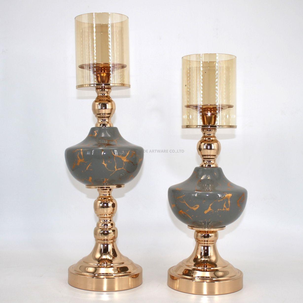 gray ceramic candle holder set for decoration 91408