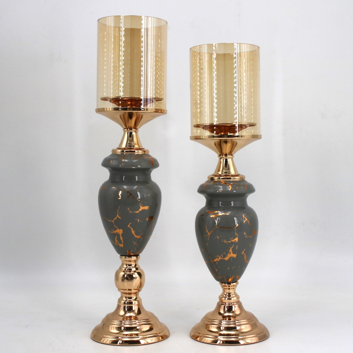 gold metal with gray ceramic candle holder set 91410